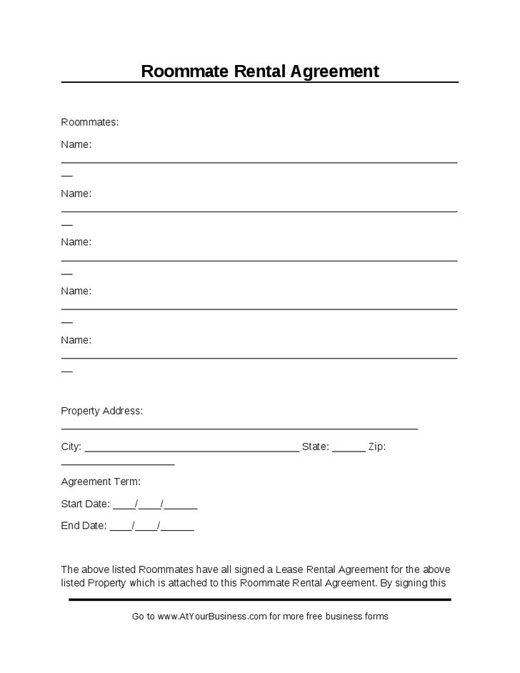 Room Lease Agreement Roommate Agreement Form  Best Printable