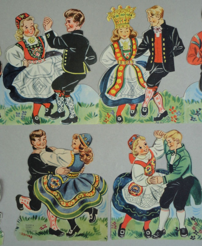 Paper Garland Banner Folk Dancers Norway Dryer Trykk Mittet Festival c1950s