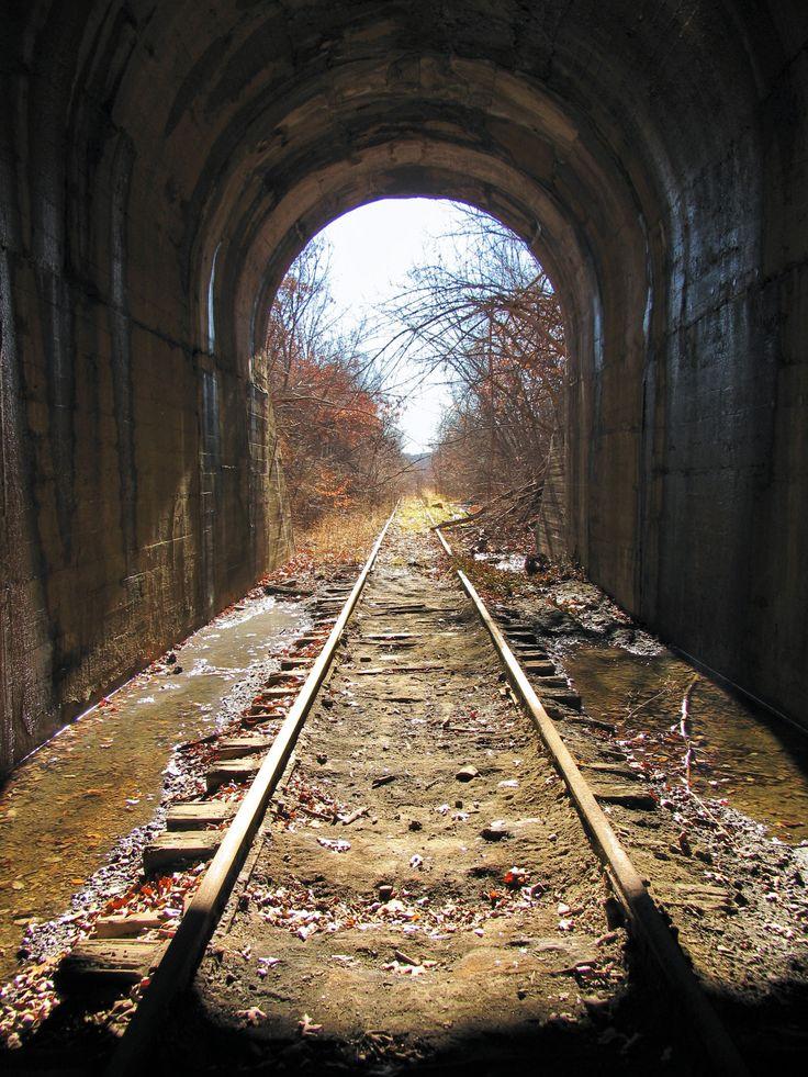 Abandoned Rock Island Railroad tunnel in South Kansas City. Unused since 1977, 441 feet long.