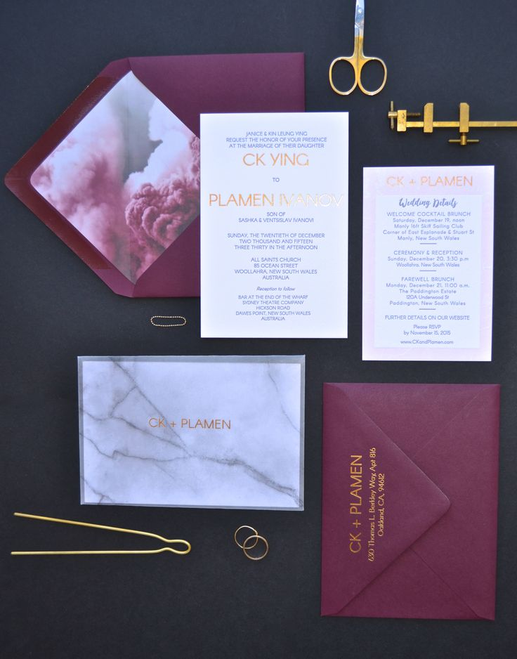 Letterpress invitation with gold edge painting and