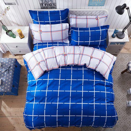 Obojstranné posteľné obliečky v tmavo modrej farbe
