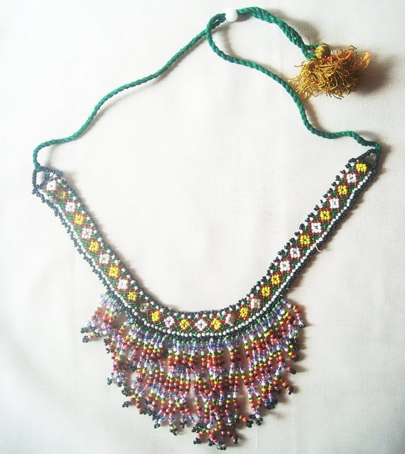 Seed bead necklaces,Indian Antique Beaded Net Weave Necklace,Traditional Art,Unique Mid 1960S