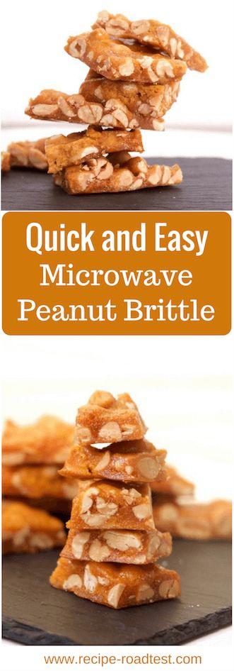 Quick and Easy Microwave Peanut Brittle. Pin it for later or check out the recipe on http://www.recipe-roadtest.com/recipe/microwave-peanut-brittle/