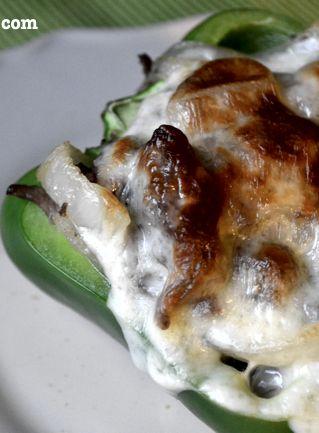 No carbs! Cheesesteak Stuffed Peppers #Recipe via AFewShortCuts.com