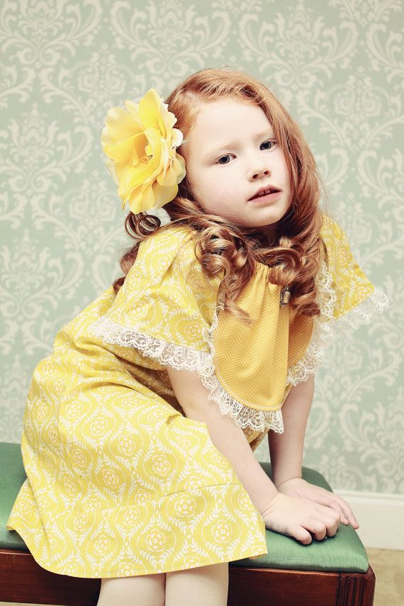 Vintage Stitches Tea Party Damask Dress - Girls Dresses - Easter Dress - Spring Dress