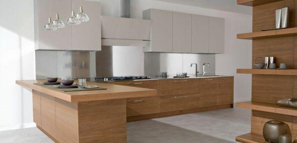 praktische schicke küche holz einrichtung regale möbel | küche