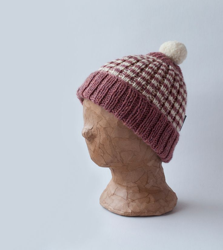Mantelinan villainen raitapipo - Knitted woollen beanie with stripes by Mantelina