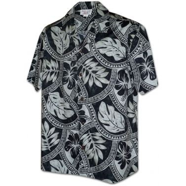 chemise hawaienne ...Charcoal leaves