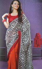 #Orange and black colour bhagalpuri silk material #saree #sari