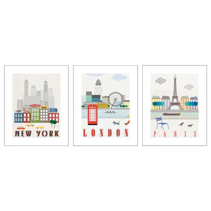 ikea trilling poster set of 3 london paris new york article number motif. Black Bedroom Furniture Sets. Home Design Ideas