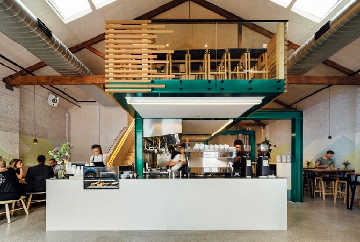 Timber Slatted Mezzanine as Highlight for Code Black Cafe in Melbourne