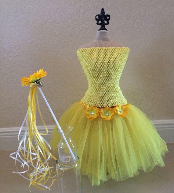 Giallo Costume fata Tutu giallo ali di fata di partiesandfun
