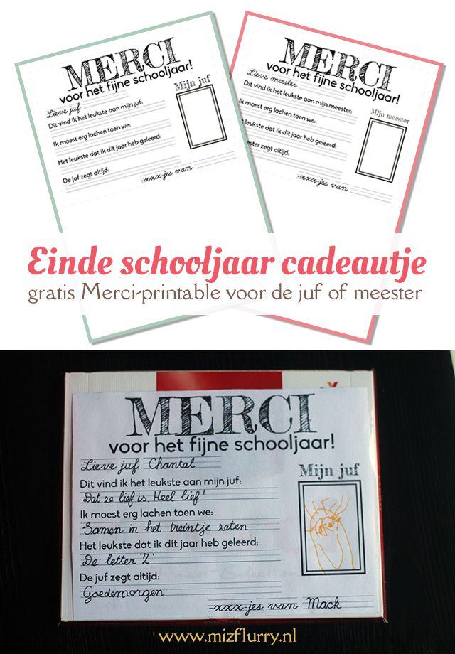 MizFlurry: Einde schooljaar cadeautje - gratis Merci printable voor de juf of meester