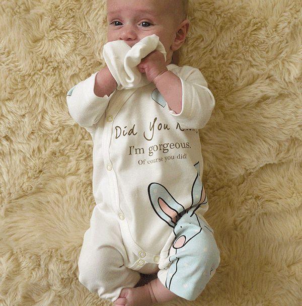 Rufus Rabbit økologisk babydress med lue gutt blå