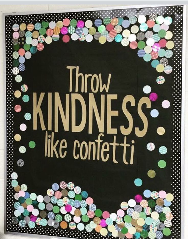 "A fabulous February bulletin board! ""Throw Kindness like confetti!""#DIYbulletinboards #heartdecor"