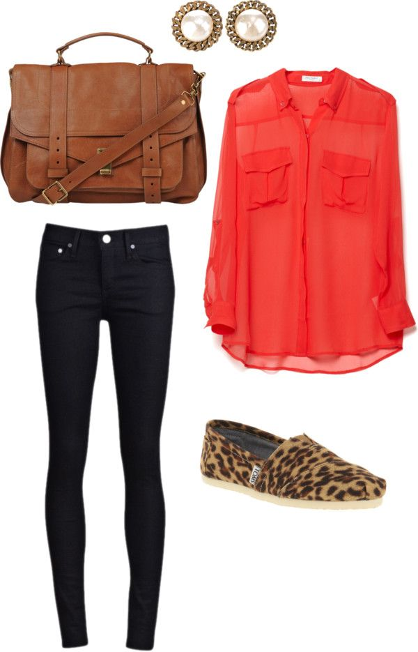button up, skinny jeans,toms, & neutral bag