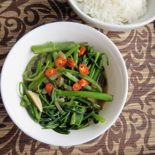 Wasserspinat mit Austernsoße aus dem Wok Gemüse Hauptgerichte Schmoren #asianfood #asiatisch #exotisch