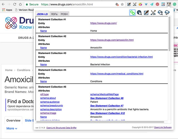 Drugs.com pages demonstrating use of RDF-based Linked Data using Schema.org terms (including HCLS extensions).   #Drugs #HCLS #SemanticWeb #LinkedData #SchemaOrg #SmartData
