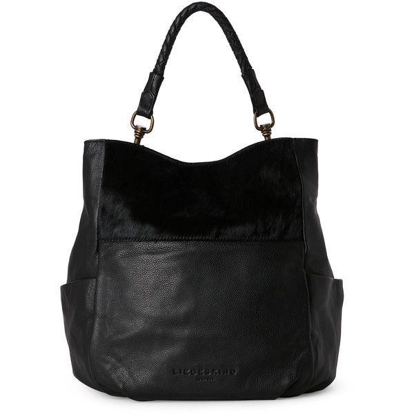 Liebeskind Black Jeany Tote ($130) ❤ liked on Polyvore featuring bags, handbags, tote bags, black, grommet tote, leather handbags, pocket tote, tote handbags and handbags totes