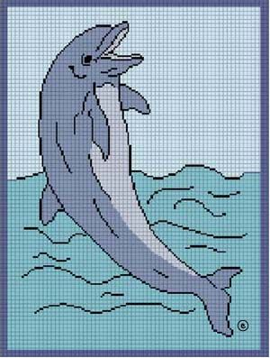free dolphin afghan chart | JUMPING DOLPHIN CROCHET AFGHAN PATTERN GRAPH CHART CROSS STITCH TOO by ...