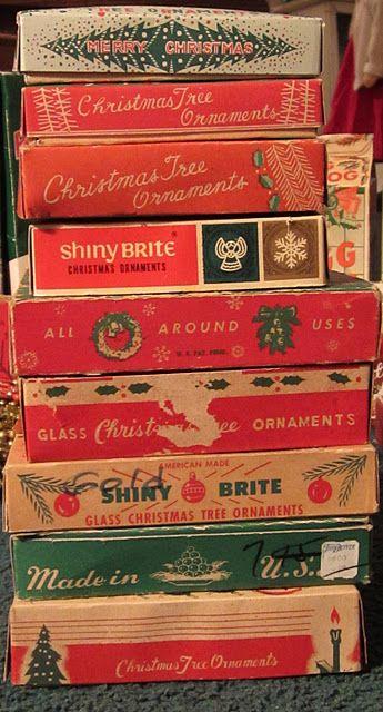 VIntage Ornament Boxes: Holiday, Vintage Box, Vintage Ornaments, Christmas Boxes, Ornament Boxes, Christmas Vintage, Vintage Christmas Ornaments