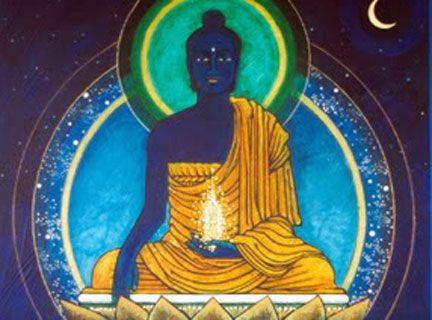 Akshobya: el imperturbable.  En su corazón hay una sílaba formada por una luz azul claro, hung, símbolo de la integración de lo individual y lo universal. Este sonido llega a todos los rincones de su reino: om... vajra... Akshobhya... hung. Todo es un reflejo perfecto en el espejo de tu mente.