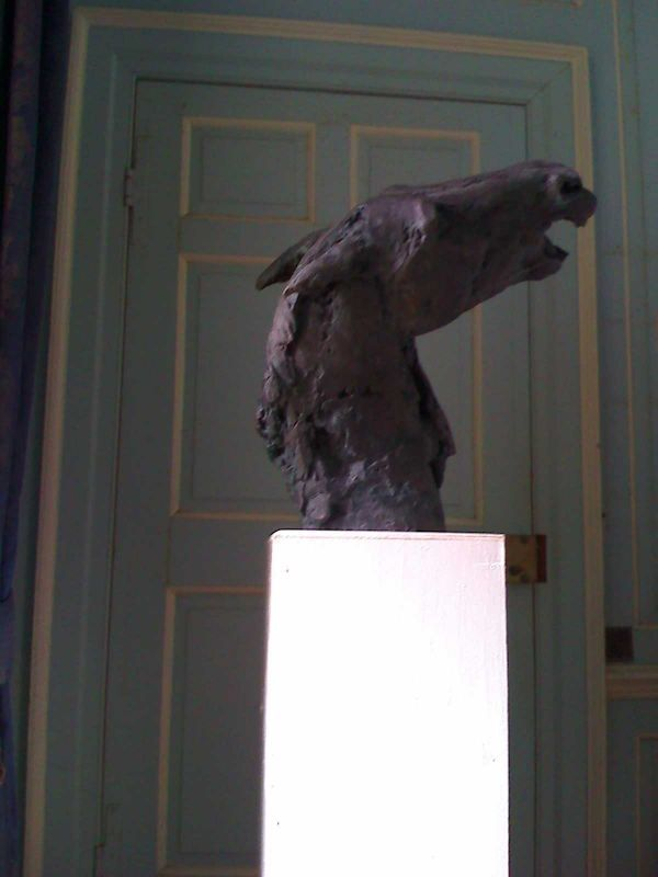 Bronze Resin By Emma Walker Titled: U0027Horse Head (Bronze Resin Tossing Life  Size Bust Statue Sculptures)u0027.