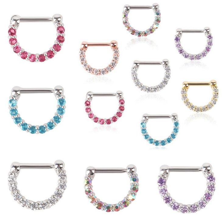 1 PCS 8mm*12mm Size Crystal Nose Ring Hoop Nose Rings Fake Septum Piercing Hanger Clip On Body Jewelry For Women Free Shipping