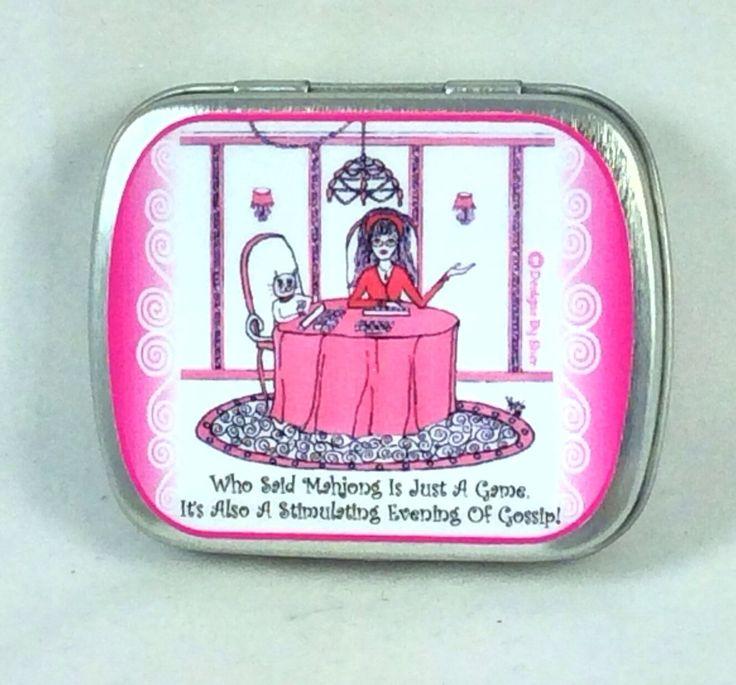 Mahjong Pill box, humor, cat, funny sayings, kitty, girlfriend gifts, girl humor,  illustration by sherdesigns on Etsy https://www.etsy.com/listing/208040791/mahjong-pill-box-humor-cat-funny-sayings