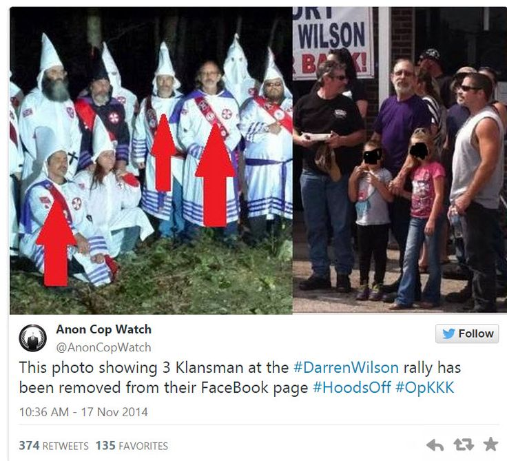 Darren Wilson Supporters Remove Photo Showing Three KKK Members at Rally After It Becomes Public Knowledge