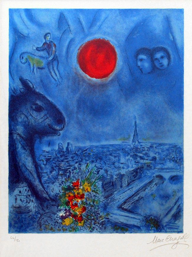 Original Painting Red Sun Over Paris Chagall