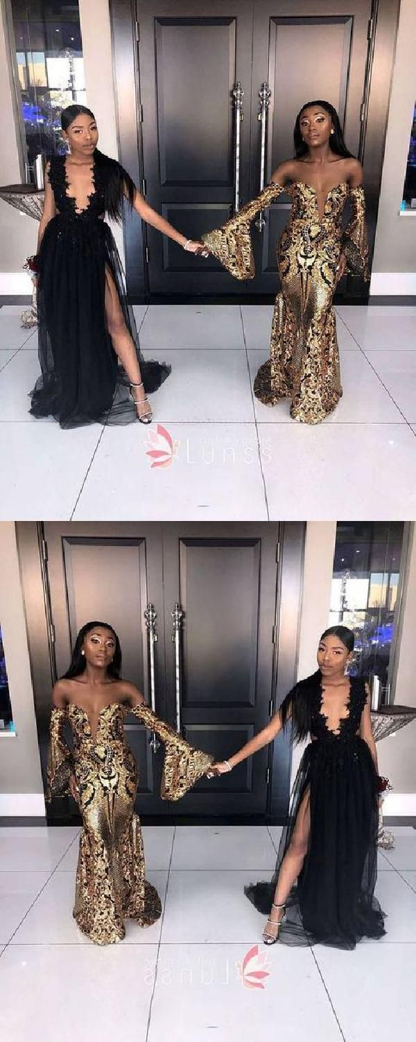 9cab5060 Gold Sequins Off-the-shoulder Puffy Long Sleeve Floor Length Mermaid Prom  Dress Prom