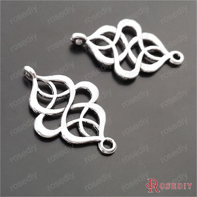 (29616-G)10PCS 27*18MM Antique Silver Plated Zinc Alloy Chinese knot Bracelet Charms Diy Handmade Jewelry Findings