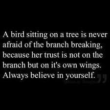 Belief- in your ability to fly and break free & you will ultimately do so.