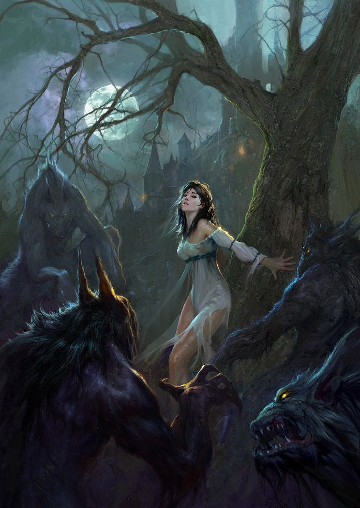 Just a Hunting Pack of Werewolves, with a Damsel in Distress! The Werewolves have her completely surrounded - in the Darkest Woods. I wonder whether she's a Fair Maiden of the Fantasy Castle? Or whether she's about to turn into a Werewolf herself - under the Power of a Full Moon?