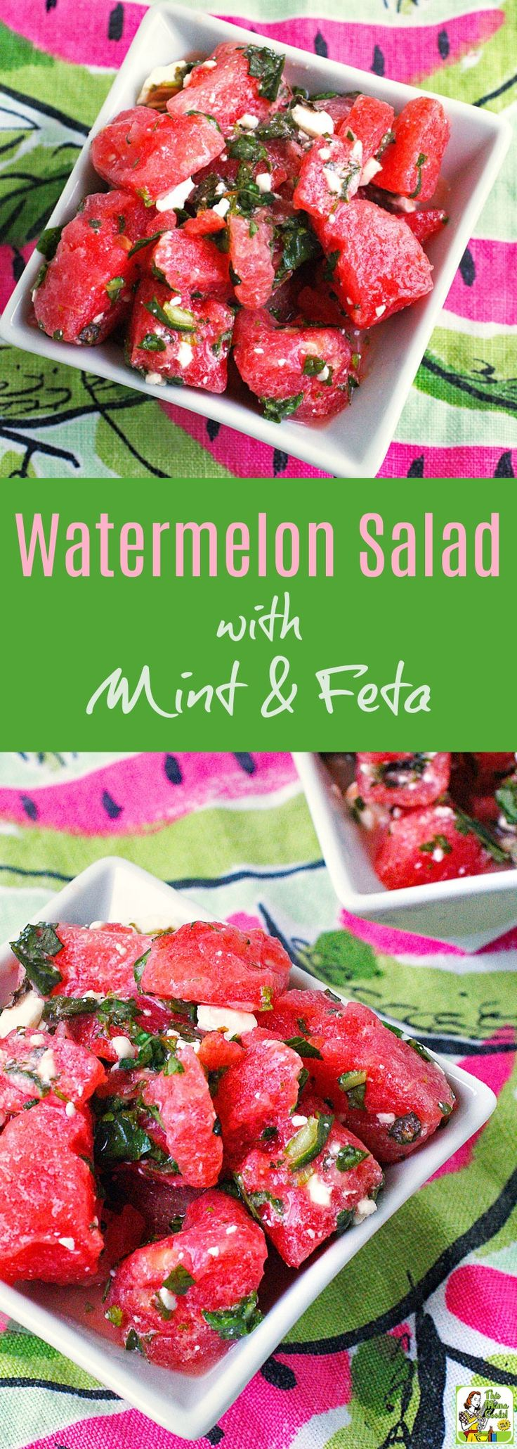 Watermelon Salad with Mint & Feta is the ideal fruit salad to serve at a cookout or to bring to a potluck party. Click to get this easy, gluten free watermelon salad recipe.