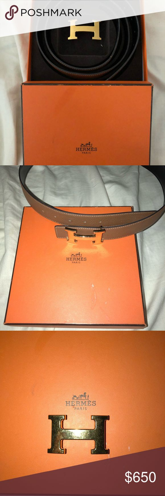 "Authentic Constance Hermes Belt Authentic Hermes Constance Reversible belt with gold ""H"" buckle. Size 90 and had Hermes add a few more punch holes into leather band in case I wanted to wear with high waisted jeans also! Leather band in perfect condition and ""H"" buckle has minor scratches! Purchased in the NYC Hermes store. Hermes Accessories Belts"