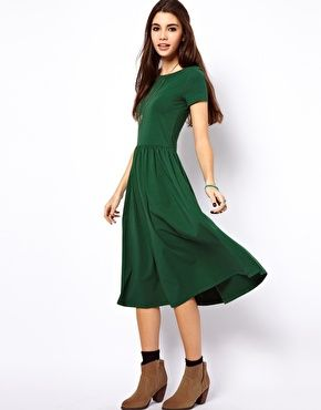 ASOS Midi Dress With Short Sleeves. Love this emerald green. Nice for Thanksgiving.