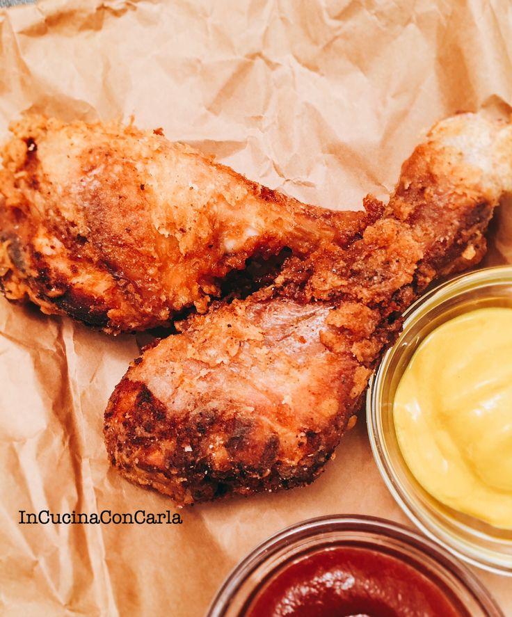 Ecco un piatto tipico dello street food americano il pollo fritto e non si può certo dire che non sia buono, croccantissimo fuori e morbido all'interno.