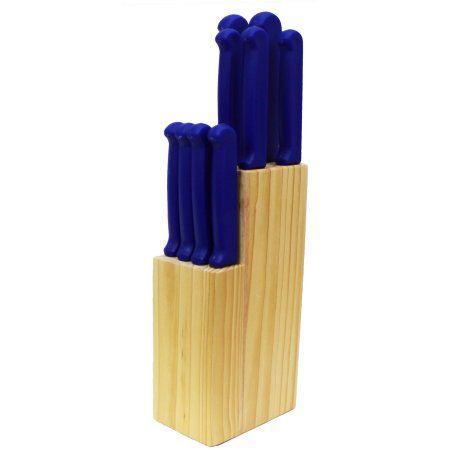 Homebasics 10-Piece Blue Cutlery Set in Natural Block