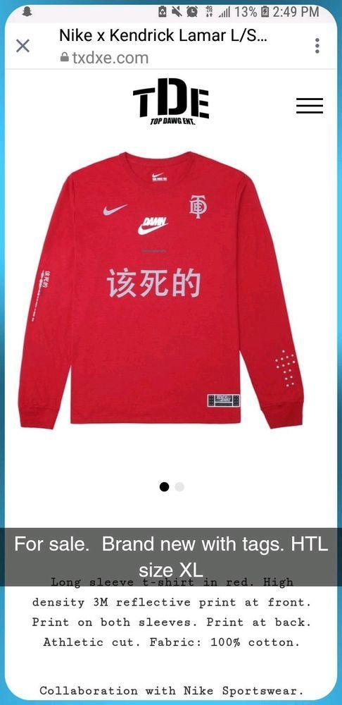 1bc0ebe3457 Nike X TDE Championship Tour Damn Kendrick Lamar Red Long Sleeve Shirt XL   fashion  clothing  shoes  accessories  mensclothing  shirts  ad (ebay link)