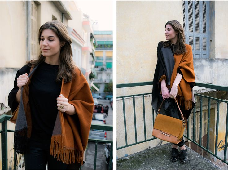 Camel Cape, Black and Grey Outfit