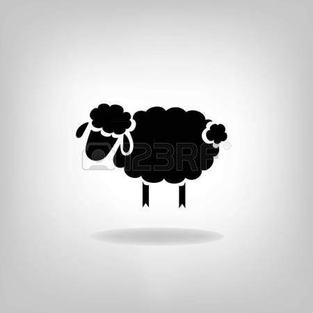 baa baa black sheep: black silhouette of sheep on a light background Illustration