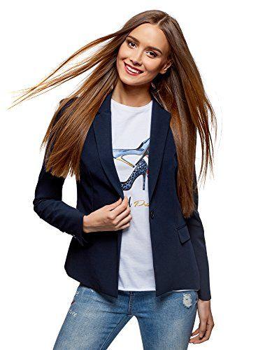Oodji Collection Women S Classic Slim Fit Blazer Blue U Https Www Amazon Co Uk Pantalon Azul Marino Mujer Americana Azul Marino Abrigo Azul Marino Mujer