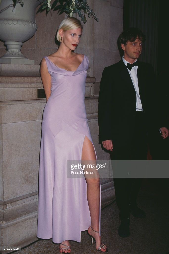 James Truman and German model and actress Nadja Auermann, attending a benefit held by the Costume Institute, USA, 1994.