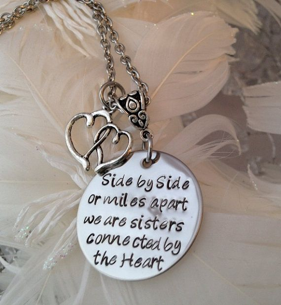 Hand Stamped Sisters connected by heart Necklace by 3littlegems, $35.00