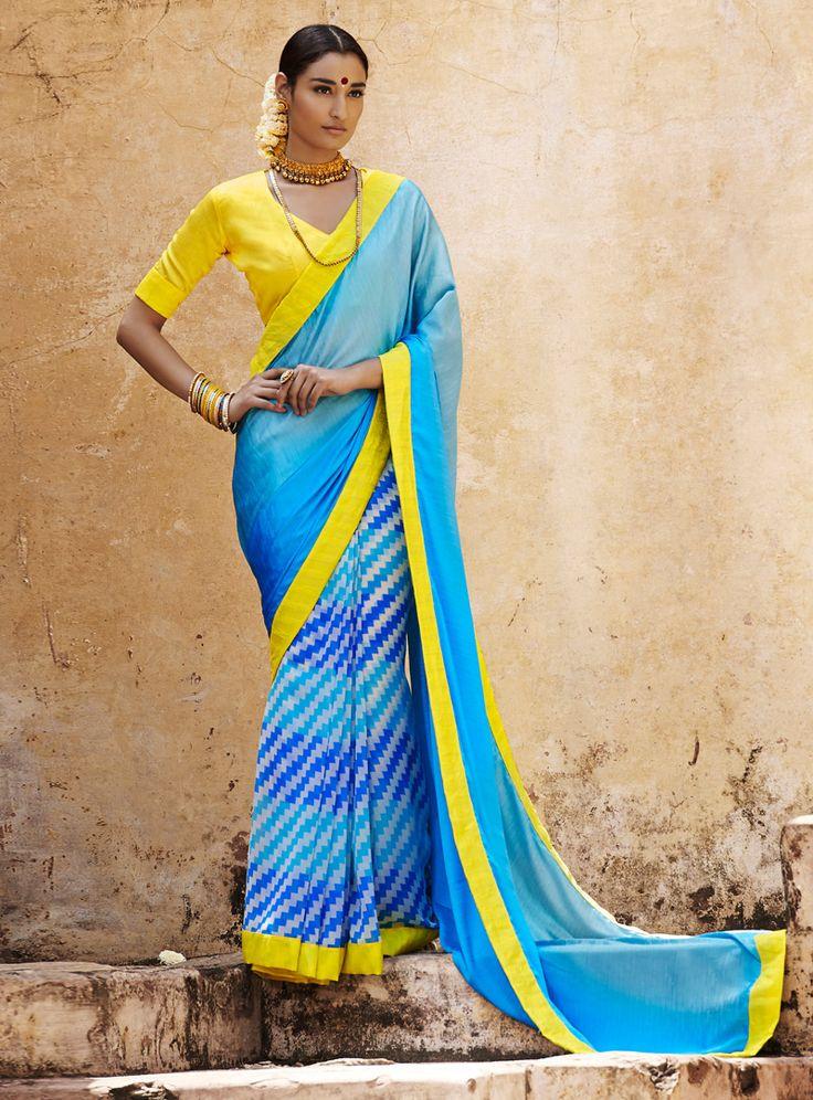Blue Satin Casual Wear Saree 93215