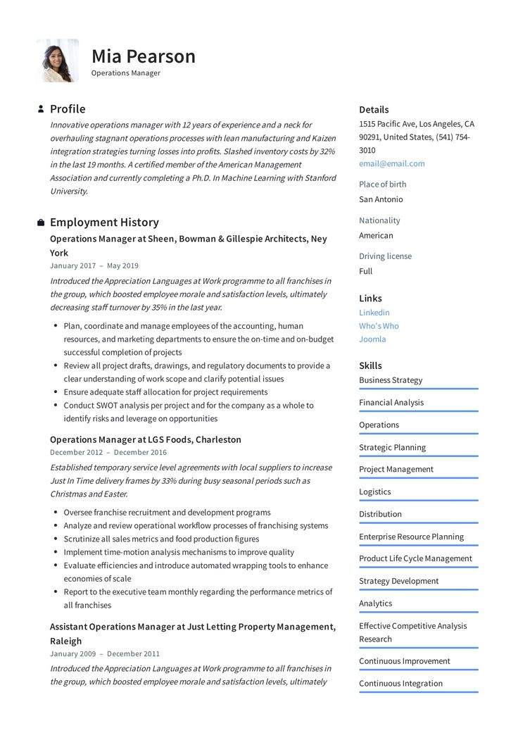 Modern Operations Manager Resume, template, design, tips