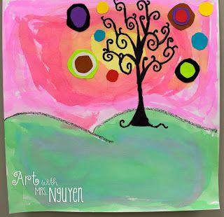 Art with Mrs. Nguyen: Natasha Wescoat-Inspired Trees (5th)