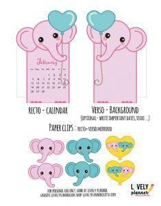 Divisor do calendário do elefante cor-de-rosa imprimível LIVRE com os paperclips de harmonização para decorar seu planejador.